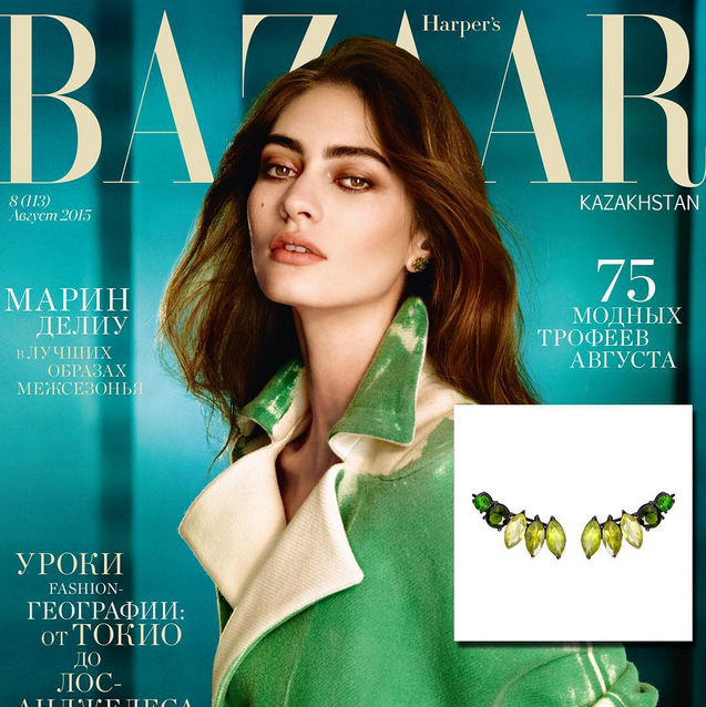 Isadora Earrings by Diaboli Kill Jewelry by Angie Marei featured in Harper's Bazaar Magazine