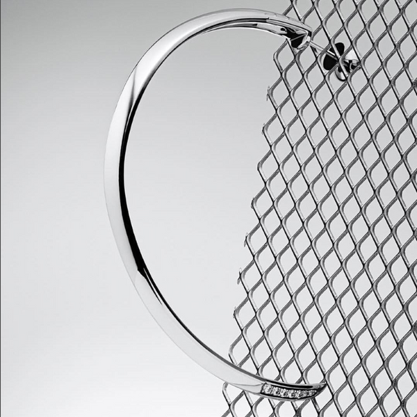 Asasara Sterling Silver Hoop Earrings with Pavé Diamond Tips