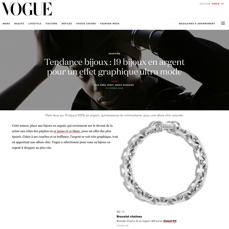 Diaboli Kill Jewelry Catena XL chains and bracelets featured in Vogue Magazine
