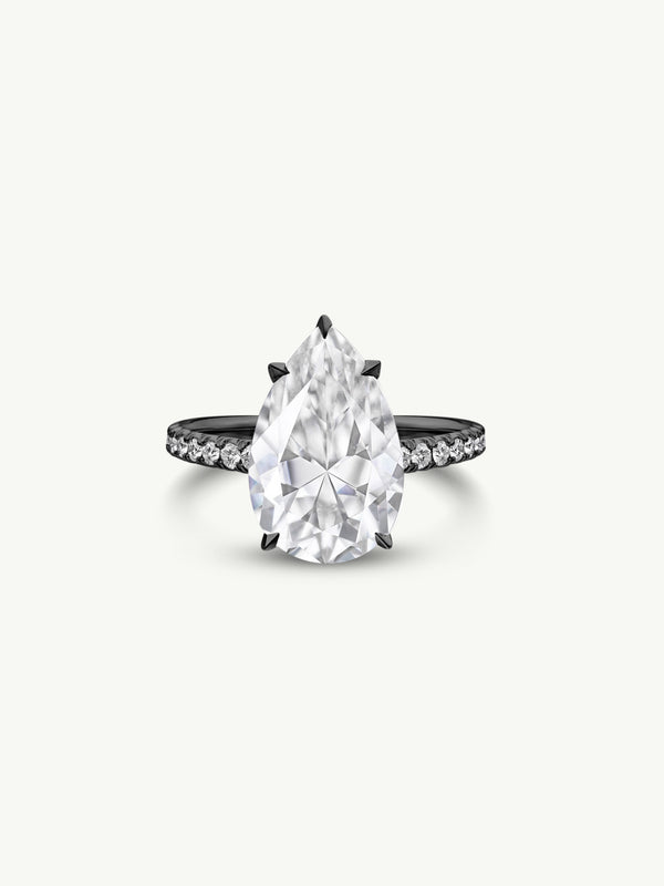 Marei Safaa Pear-Shaped Diamond Engagement Ring in 18K Black Gold
