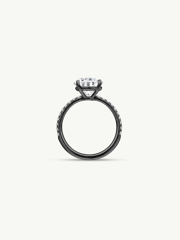 Marei Safaa Pear-Shaped Diamond Engagement Ring in 18K Black Gold - Image 2