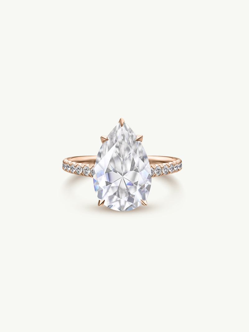 Marei Safaa Pear-Shaped Diamond Engagement Ring in 18K Rose Gold