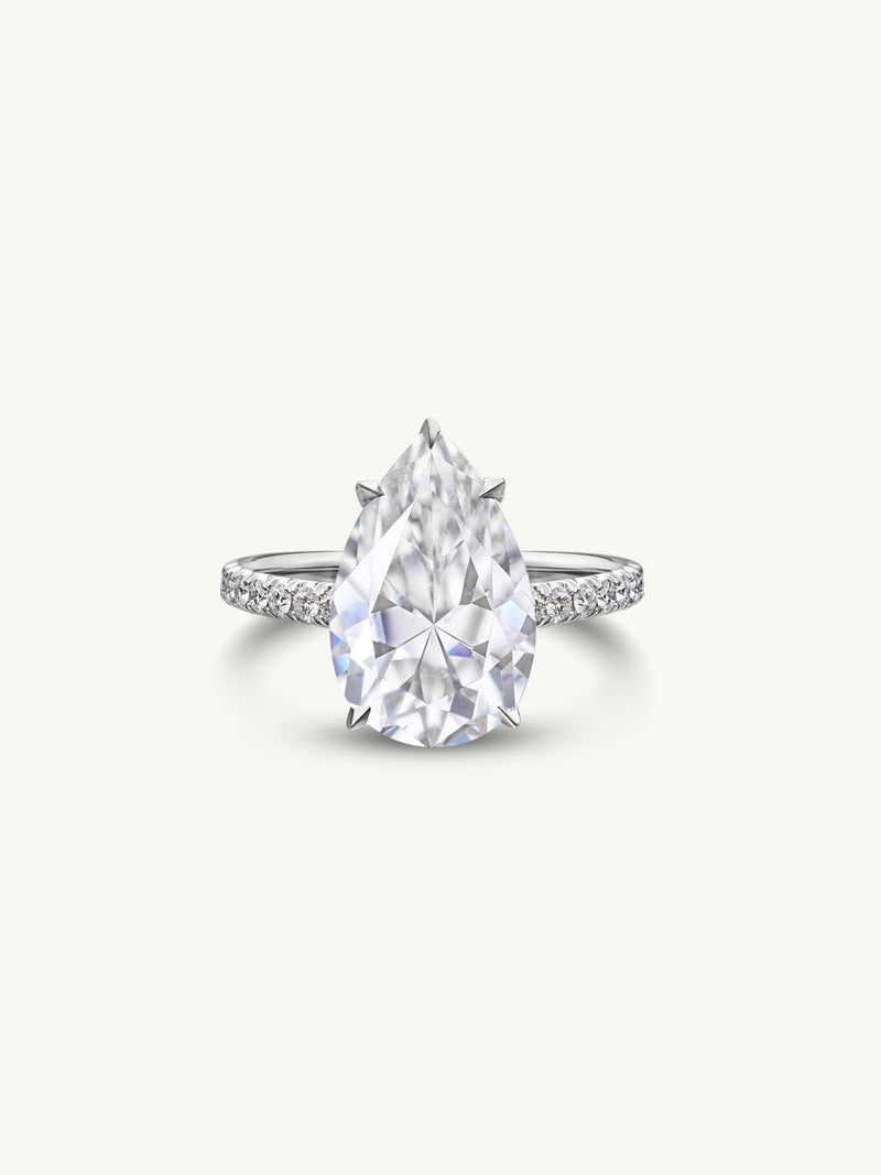 Marei Safaa Pear-Shaped Diamond Engagement Ring in 18K White Gold