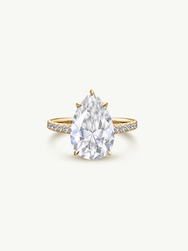 Marei Safaa Pear-Shaped Diamond Engagement Ring in 18K Yellow Gold