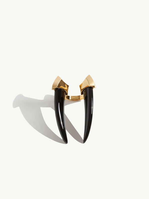 Mini Damian Onyx Horn Ring In Yellow Gold Vermeil