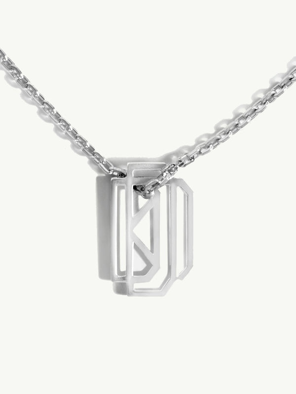 Diaboli Kill Monogram Tag Pendant In Platinum