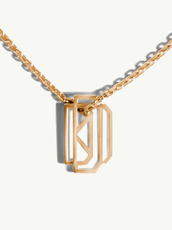 Diaboli Kill Monogram Tag Pendant In 18K Yellow Gold