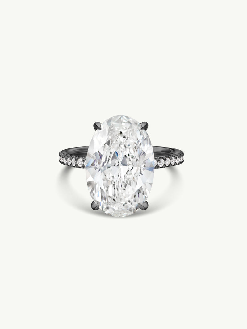 Suma Oval-Shaped Diamond Engagement Ring in 18K Black Gold