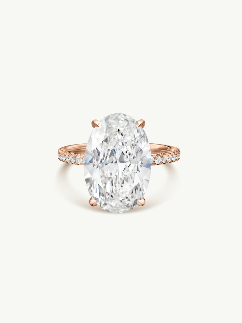 Suma Oval-Shaped Diamond Engagement Ring In 18K Rose Gold