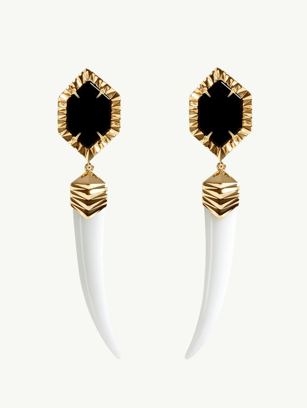 Alexandria Agate and Onyx Horn Drop Earrings in Yellow Gold