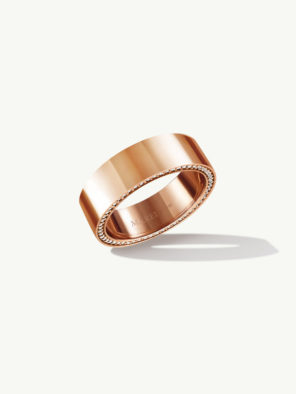 Ignis Extra-Wide Diamond Edge Accented Band In 18K Rose Gold - 8MM