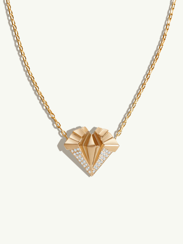 Alexandria Art Deco Pavé Diamond Heart Pendant Necklace In 18K Yellow Gold
