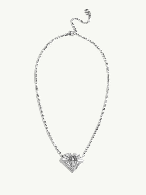 Alexandria Art Deco Pavé White Diamond Heart Pendant Necklace In 18K White Gold