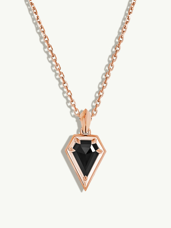 Aphrodite Black Diamond Amulet Pendant Necklace in 18K Rose Gold