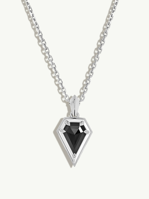Aphrodite Black Diamond Amulet Pendant Necklace in 18K White Gold