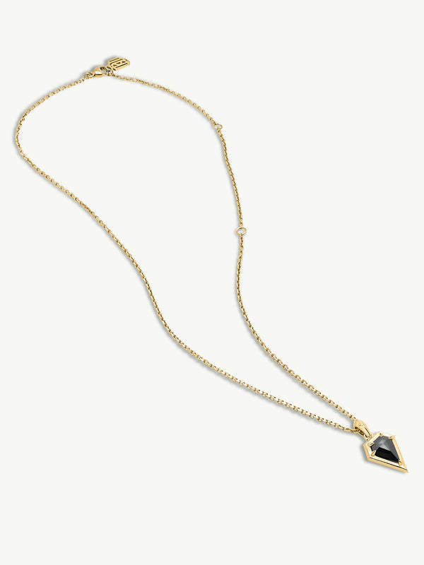 Aphrodite Black Diamond Amulet Pendant Necklace In 18K Yellow Gold