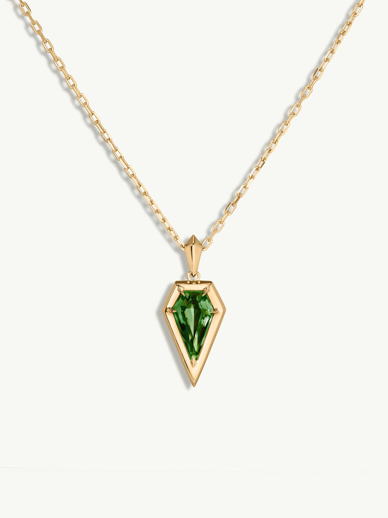 Aphrodite Green Tourmaline Amulet Pendant Necklace in 18K Yellow Gold