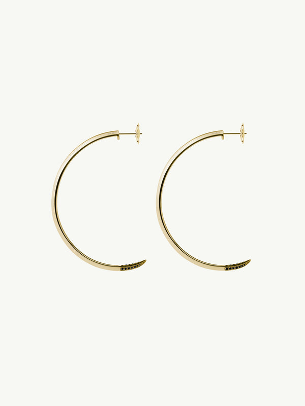Asasara Pavé Black Diamond Tip Hoop Earrings In 18K Yellow Gold