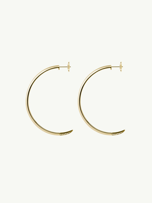 Asasara Pavé Diamond Tip Hoop Earrings in 18K Yellow Gold