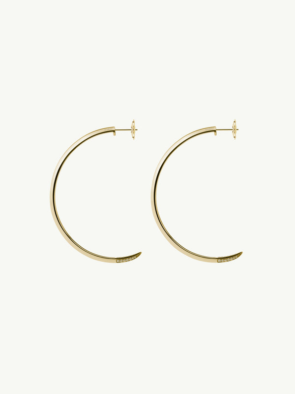 Asasara Pavé Champagne Diamond Tip Hoop Earrings in 18K Yellow Gold