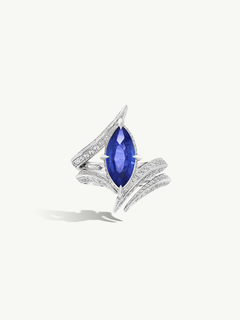 Ayla Marquise-Cut Cornflower Blue Sapphire Engagement Ring in 18K White Gold (2.15CT)