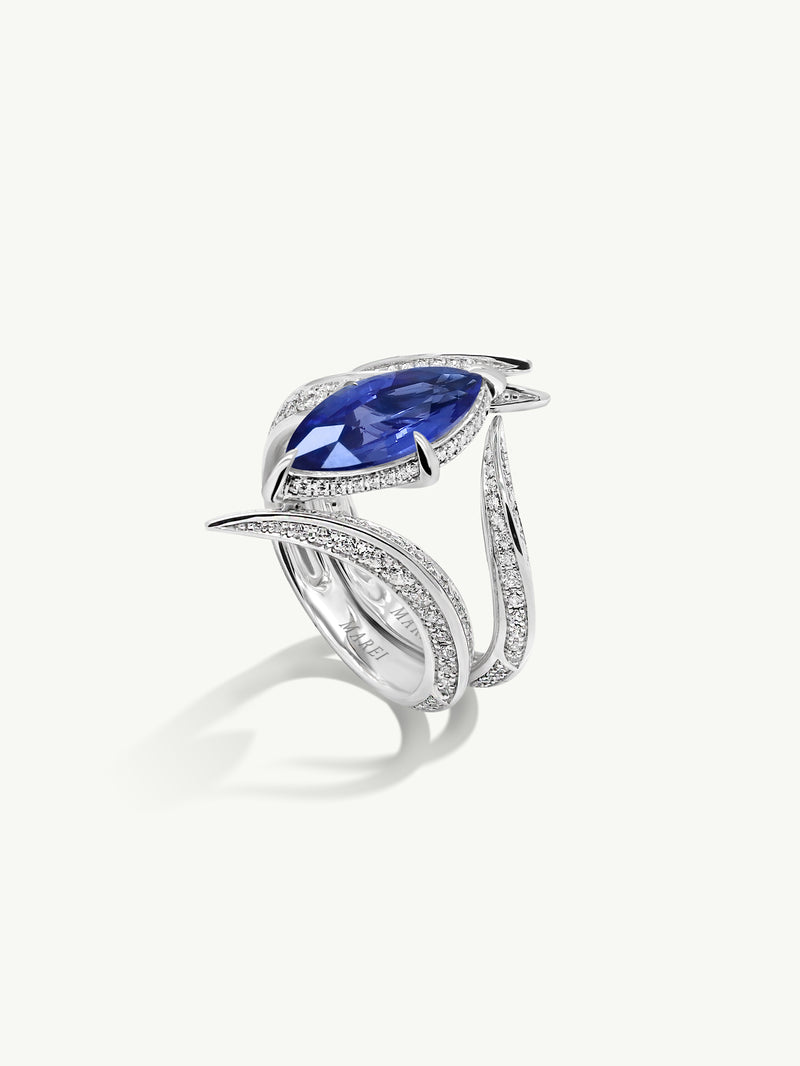 Ayla Marquise-Cut Cornflower Blue Sapphire Engagement & Wedding Ring Bridal Set In 18K White Gold