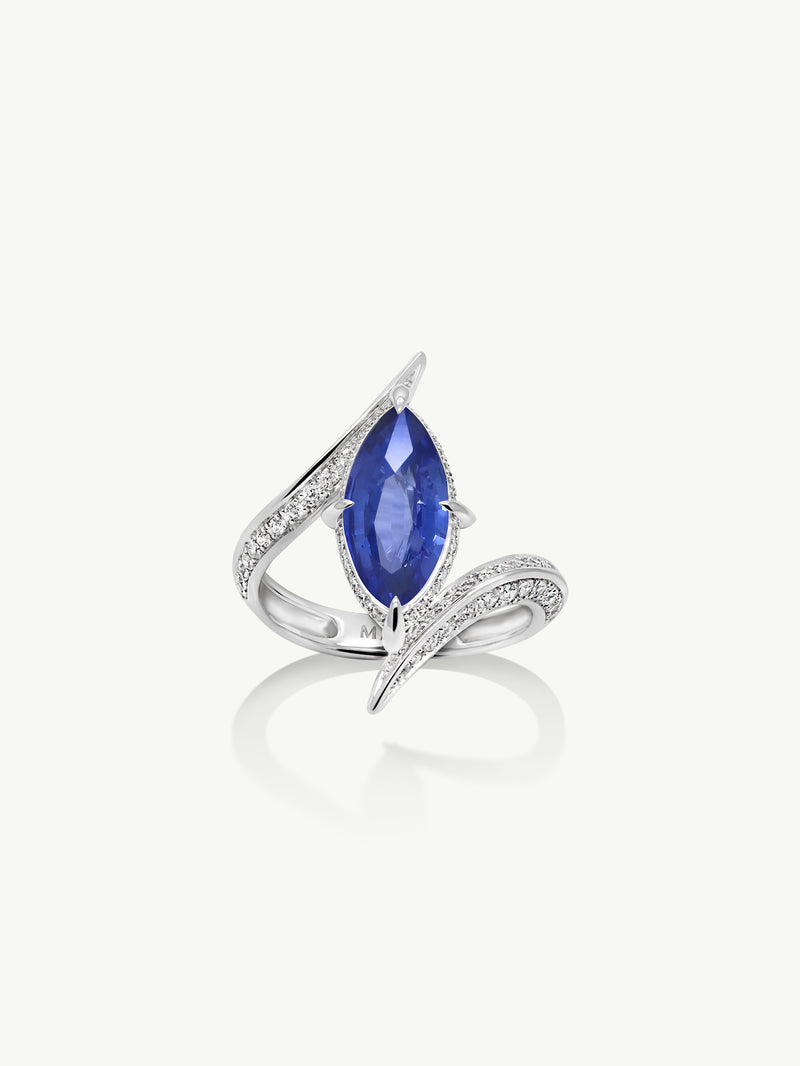 Ayla Marquise-Cut Cornflower Blue Sapphire Engagement Ring in 18K White Gold