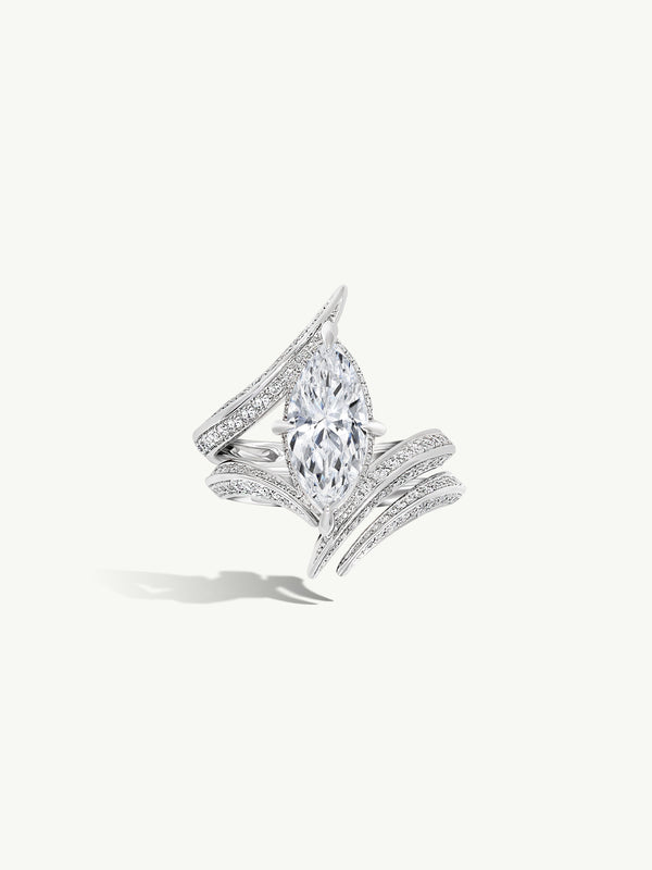Ayla Marquise-Cut White Diamond Engagement Ring In 18K White Gold