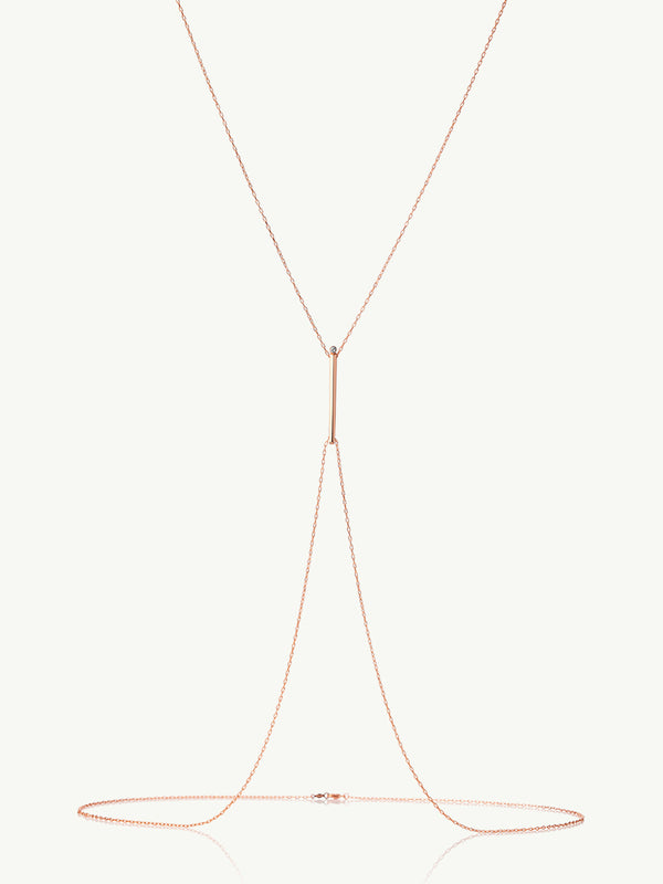 Aracelis Diamond Body Chain Necklace in 18K Rose Gold