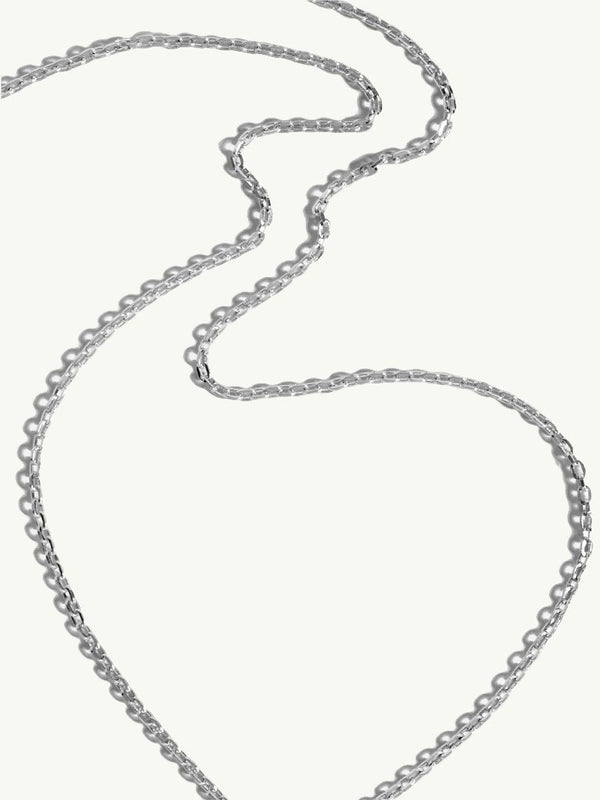 Diamond Cut Cable Chain In 18K White Gold, 2.2mm