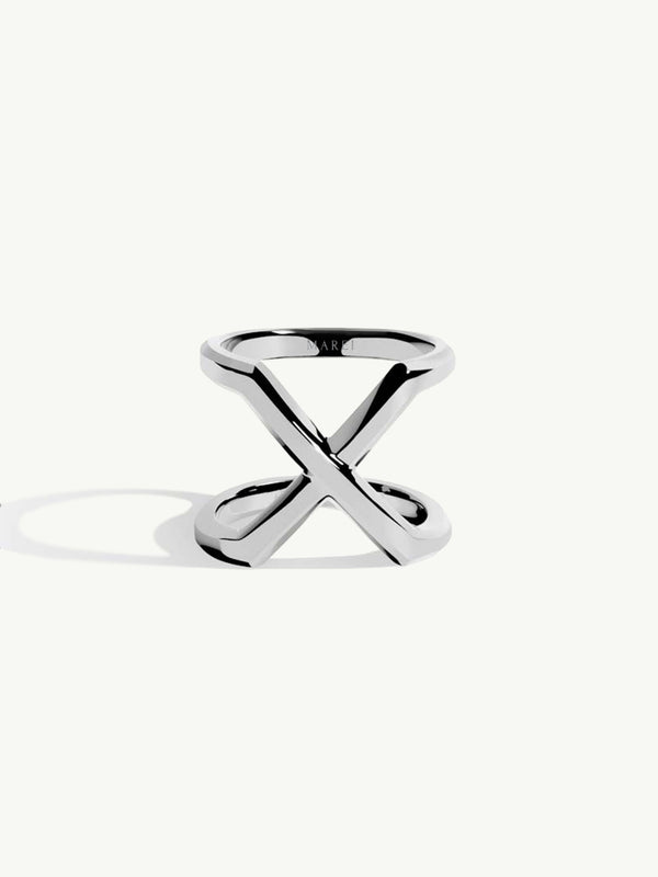 Exquis Beveled Edge Infinity Ring In Sterling Silver