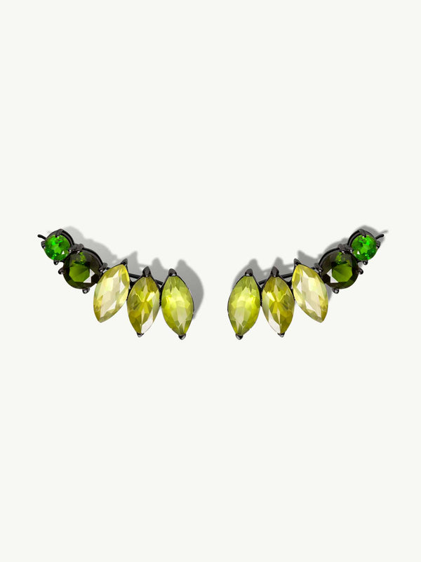 Isadora Earrings with Peridot, Tourmaline and Tsavorite Garnet Gemstones in Black Gold