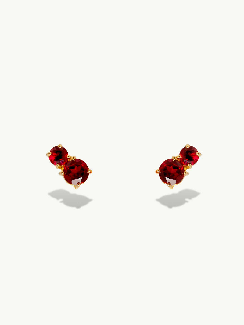 Isadora  Red Garnet Stud Earrings In Yellow Gold