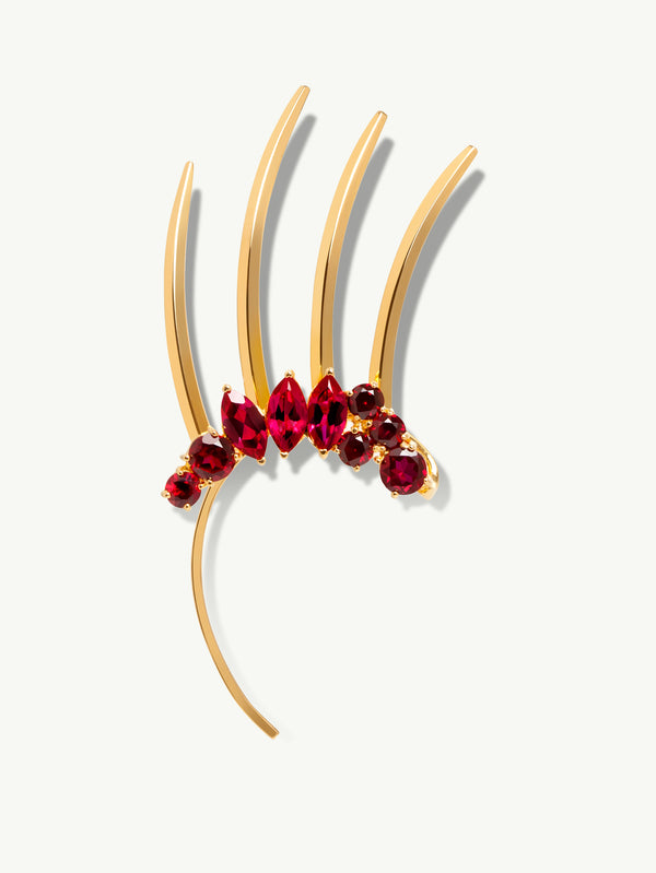 Isadora Red Garnet Spiked Ear Cuff In 18K Yellow Gold