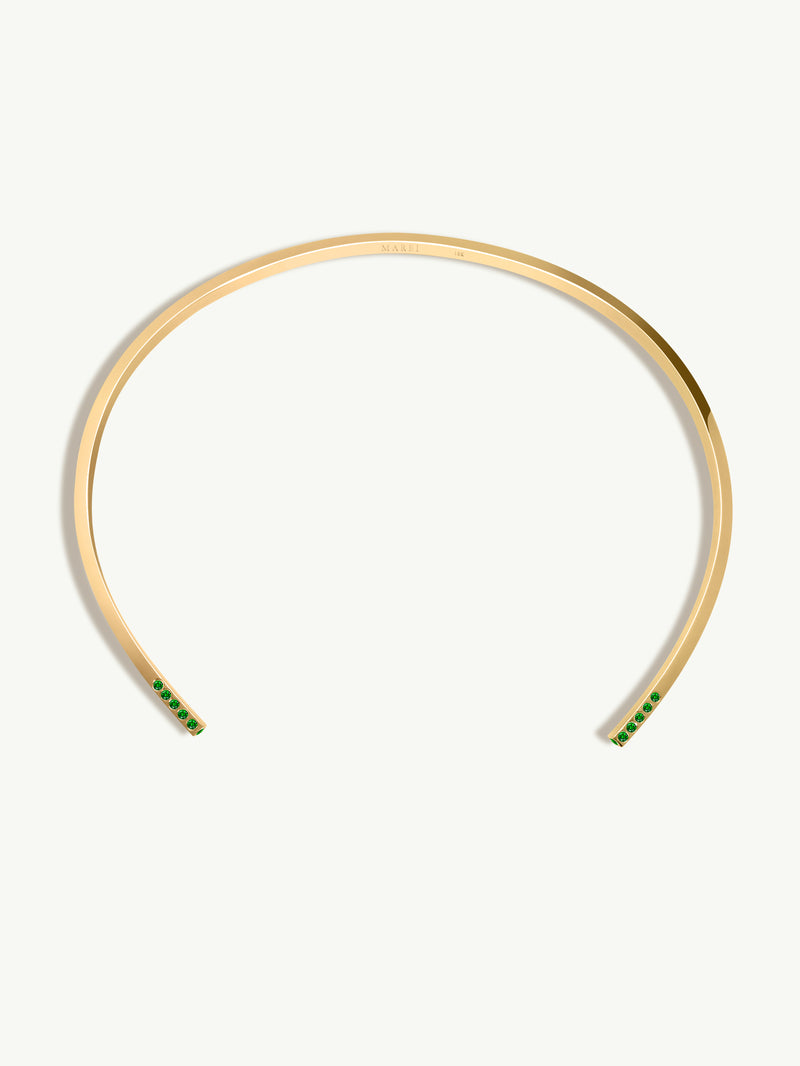 Laela Choker Necklace With Green Tsavorite Garnets In 18K Yellow Gold