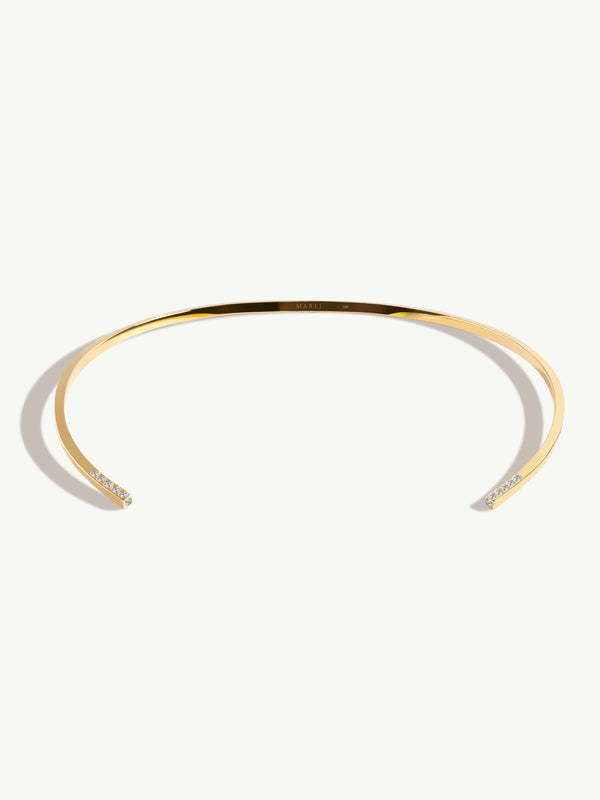 Laela Choker Necklace With White Diamonds In 18K Yellow Gold