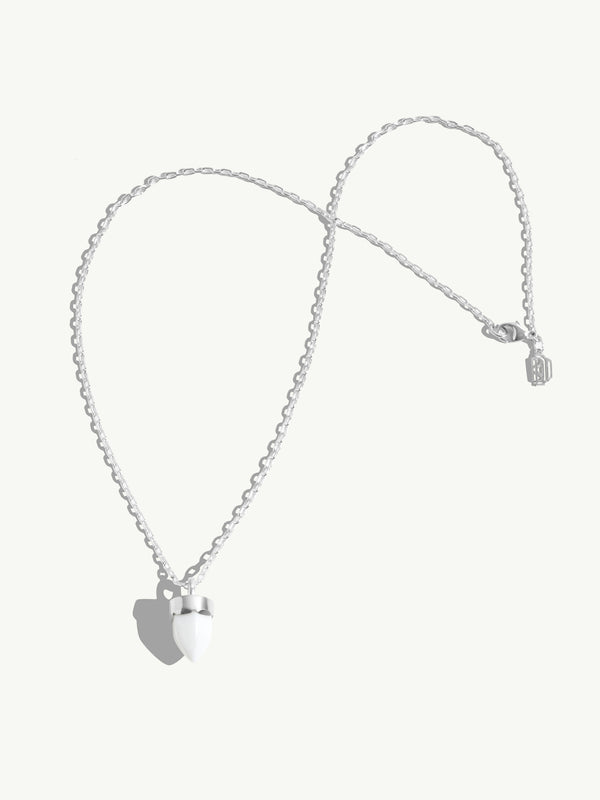 Levant Necklace White Agate Amulet in 18K White Gold