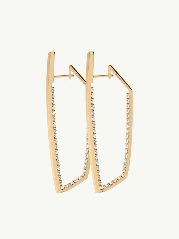 Lilith Pavé White Diamond Studded Hinged Hoop Earrings in 18K Yellow Gold