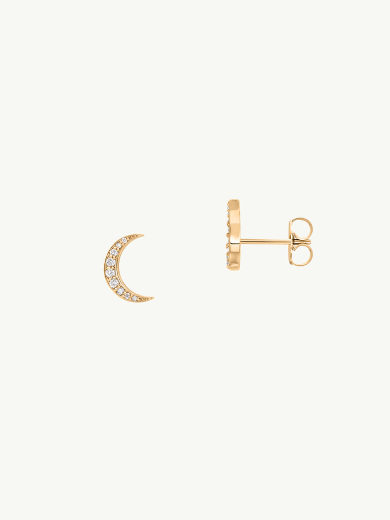Mona Pavé Diamond Crescent Moon Earrings (0.10 ctw)