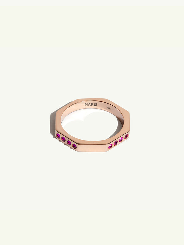Octavian Eternity Wedding Band with Rubies in Rose Gold - 1.5mm