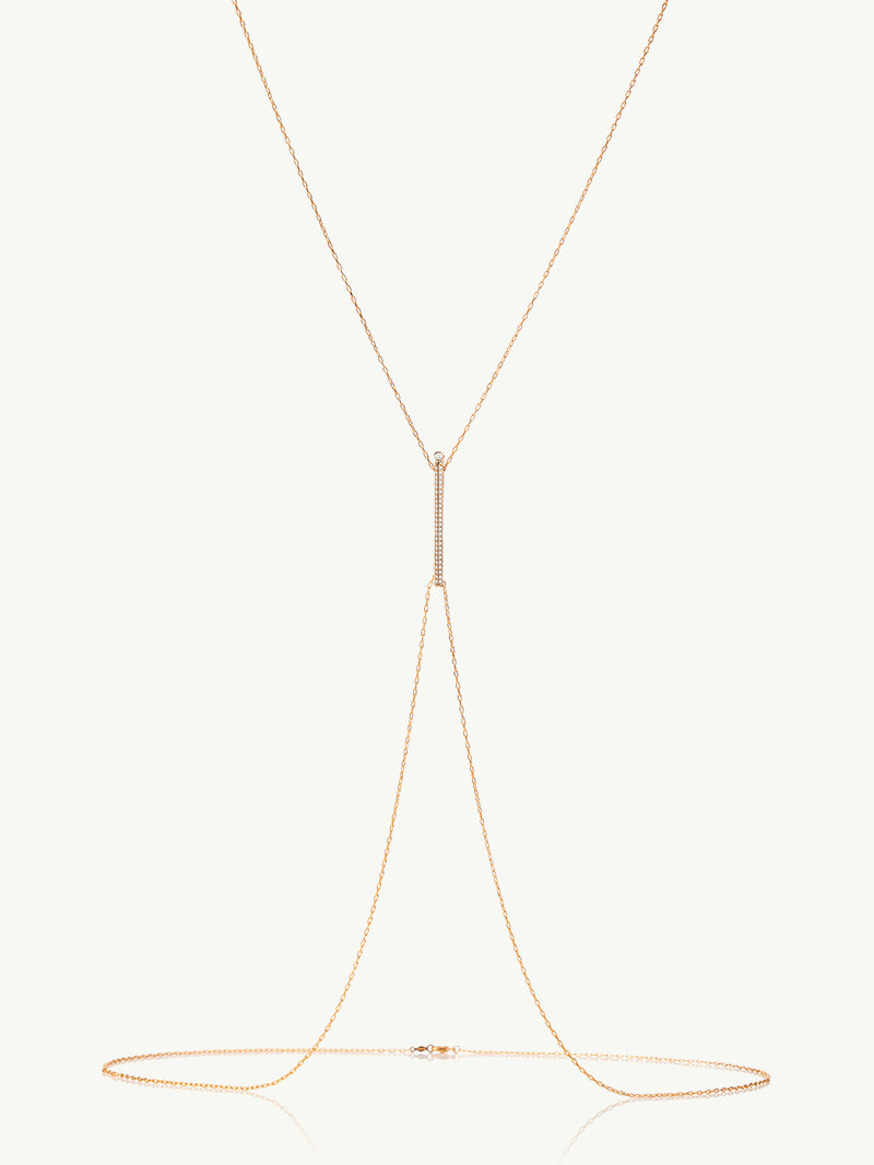 Aracelis Pavè Diamond Body Chain Necklace in Rose Gold