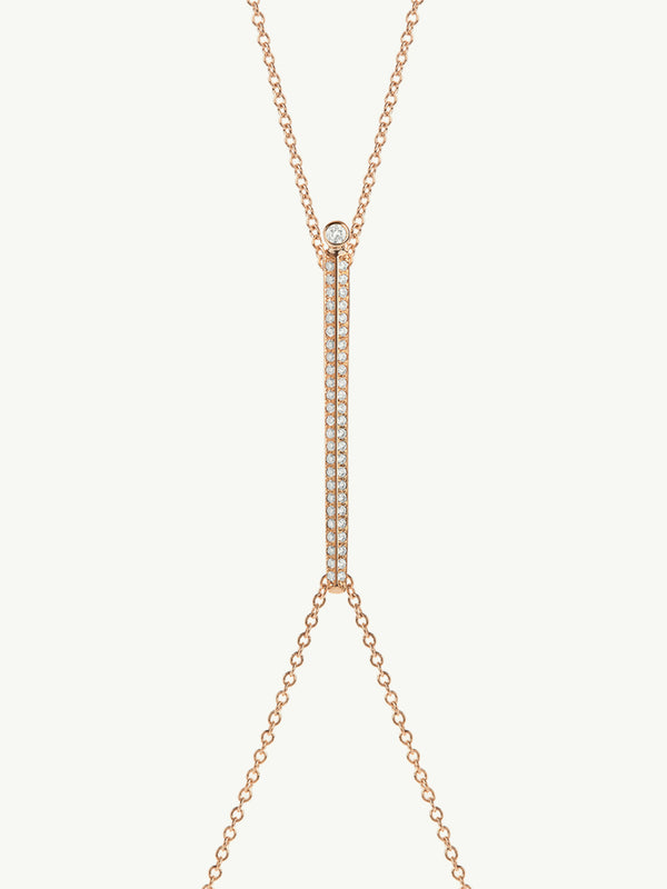 Aracelis Pavè Diamond Body Chain Necklace in 18K Rose Gold