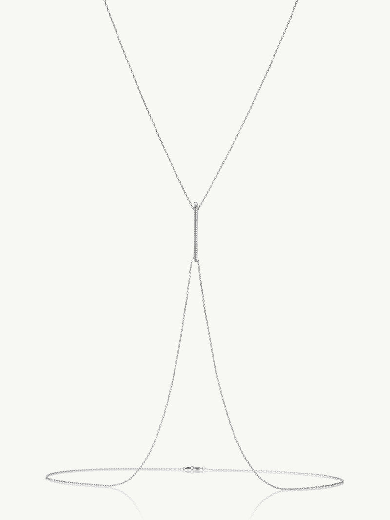 Aracelis Pavè Diamond Body Chain Necklace in White Gold