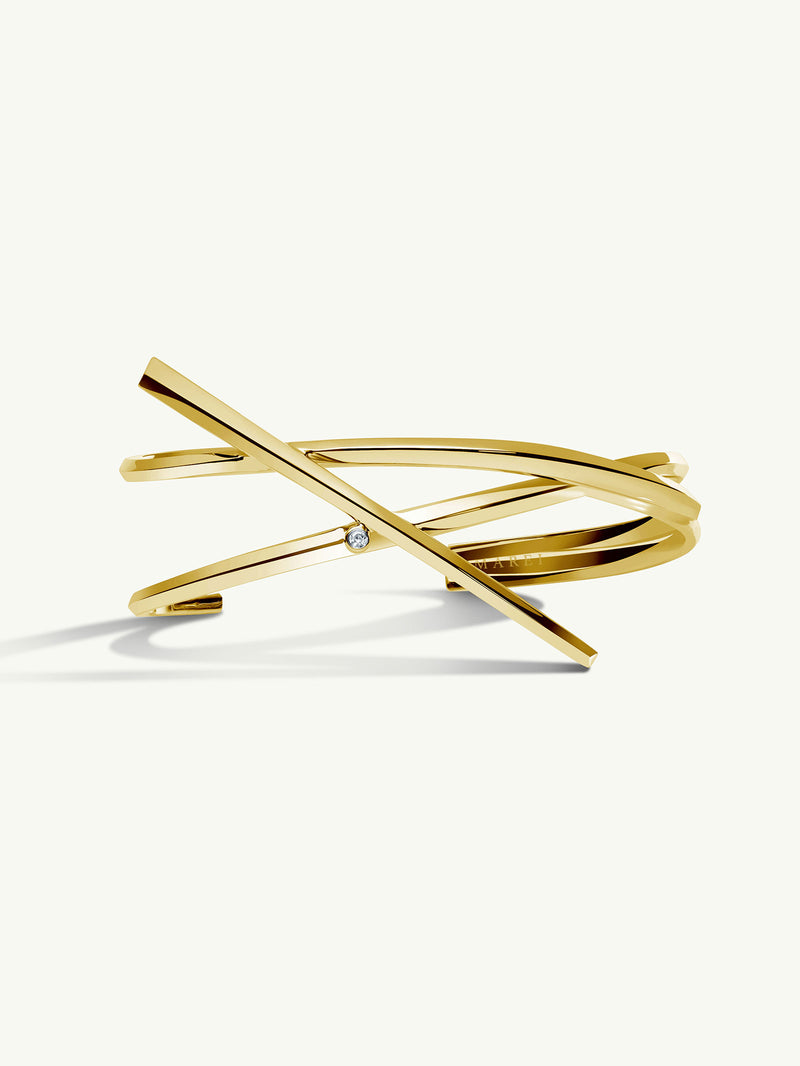 Pythia Serpentine Twist Diamond Cuff Bracelet In 18K Yellow Gold