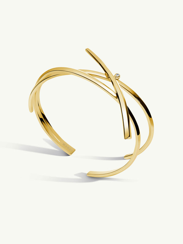 Pythia Serpent Diamond Cuff Bracelet in Yellow Gold