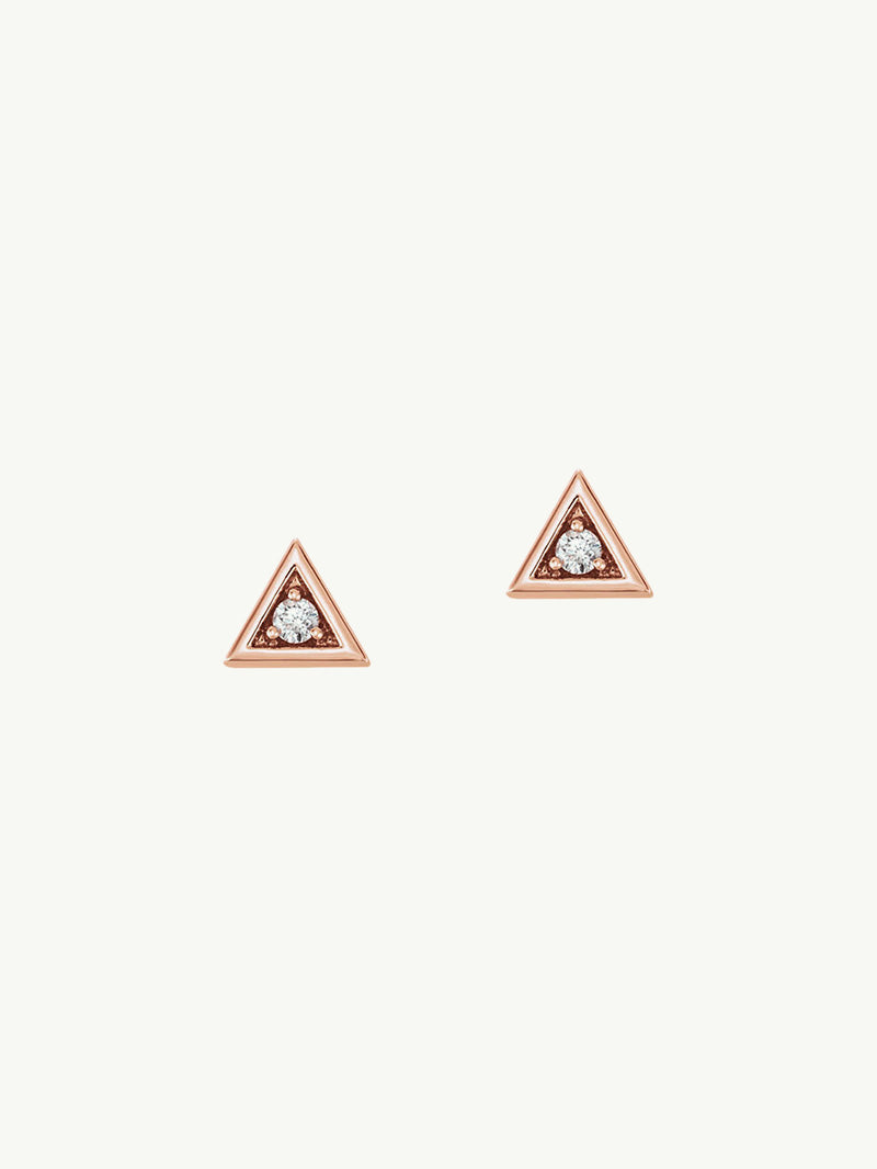 Trinity Pyramid Diamond Stud Earrings In Yellow Gold