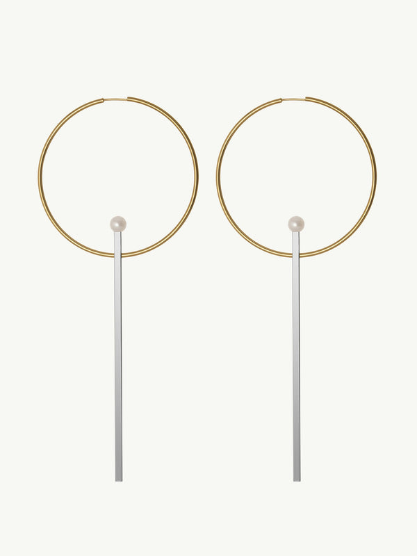 Laela Hoop Earrings With Sterling Silver Bars & Pearls In 14K Yellow Gold