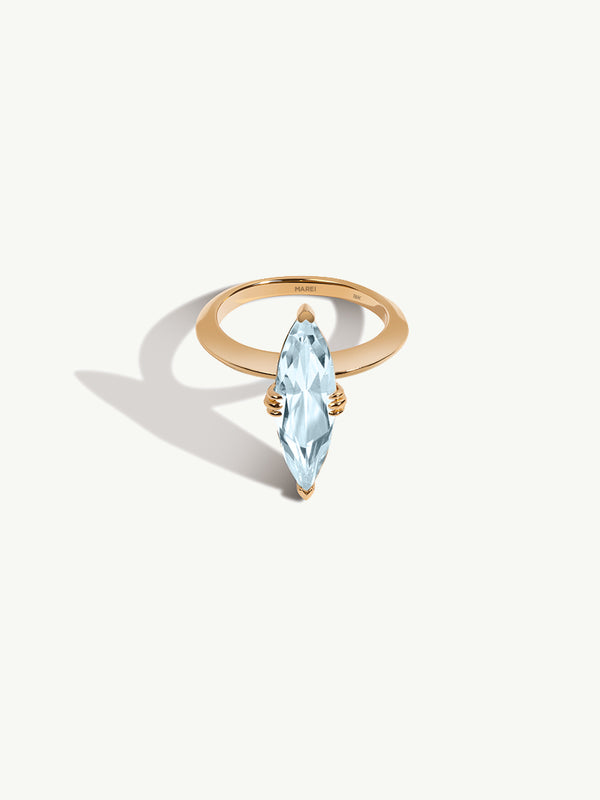 Marei Beveled Edge Solitaire Engagement Ring With Marquise-Cut Blue Aquamarine In 18K Yellow Gold