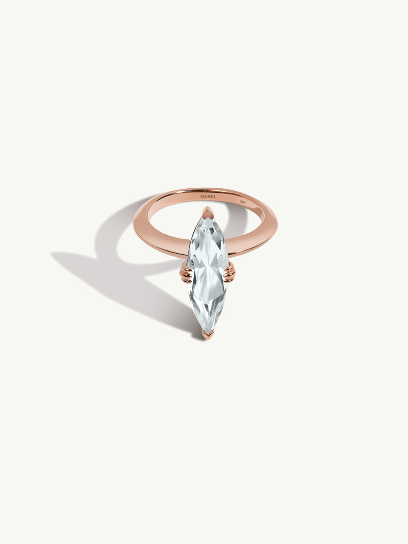 Marei Marquise-Cut White Aquamarine Solitaire Engagement Ring in 18K Rose Gold
