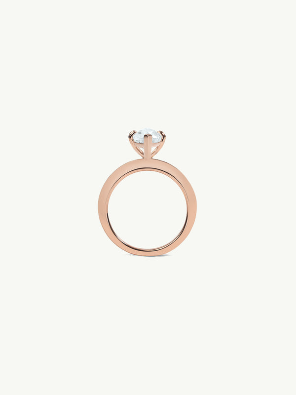 Marei Beveled Edge Solitaire Engagement Ring With Marquise-Cut White Aquamarine In 18K Rose Gold